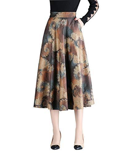 Donna vintage elegante gonna floreale lana vita alta gonne midi ragazza moda slim a-linea inverno autunno caldo lunga gonna plissettata (m(vita:25.2