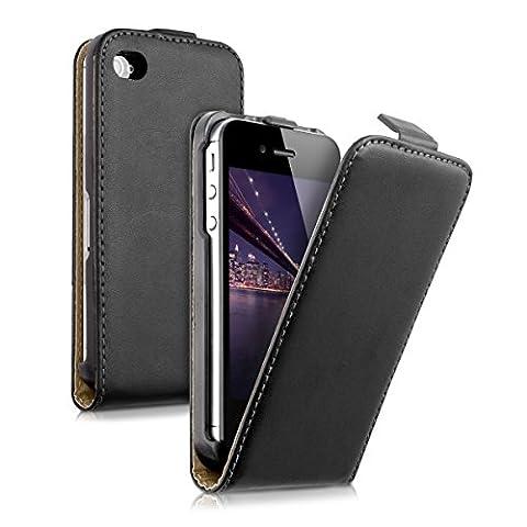 kwmobile Housse à rabat en cuir synthétique pour Apple iPhone 4 / 4S avec fermeture aimantée pratique en