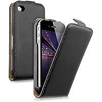 kwmobile Funda para Apple iPhone 4 / 4S - Flip Case para móvil en cuero sintético - Cover plegable negro