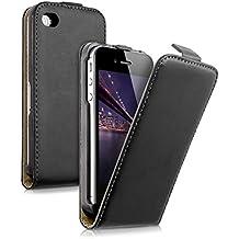 kwmobile Funda de cuero sintético Flip Style para Apple iPhone 4 / 4S con un práctico cierre magnético en negro
