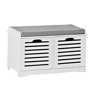 SoBuy White Storage Bench 2 Drawers & Removable Seat Cushion, Shoe Cabinet Shoe Bench, FSR23-K-W