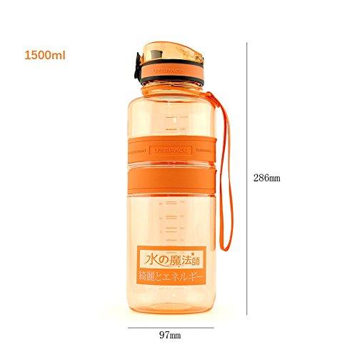 Yvonnelee Tritan Trinkflasche Wasserflasche für Damen, Herren und Kinder Outdoor Camping Wandern Flasche Auslaufsicher BPA Frei Orange