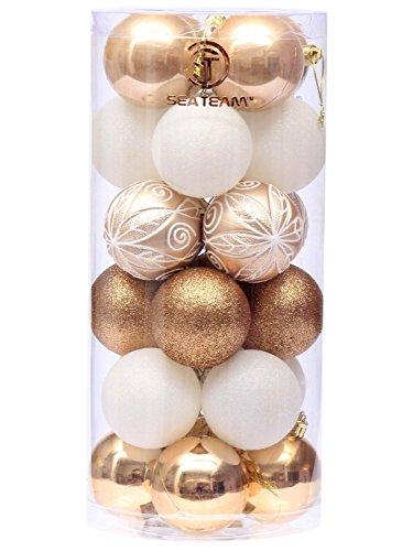 Set di palline di Natale Sea Team da 60mm/6cm, pittura decorativa infrangibile & motivo a brillantini in colori in contrasto armonioso, confezione da 24