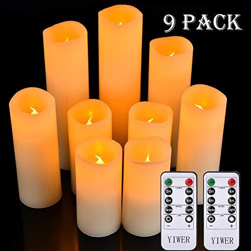 """YIWER LED Kerzen Set von 9 Flammenlose Kerzen Batteriebetriebene Kerzen D2.2xH 4 \""""5\"""" 6 \""""7\"""" 8 \""""9\"""" Echtwachssäule Kerzen Flackern mit Fernbedienung und Timer-Steuerung, Elfenbein Farbe(9x1)"""