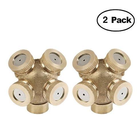 2 Pack 4 trous Professional Laiton Spray Brumisateur Buse Jardin arroseurs Raccord de tuyau d'eau connecteur pour jardinage et agriculture