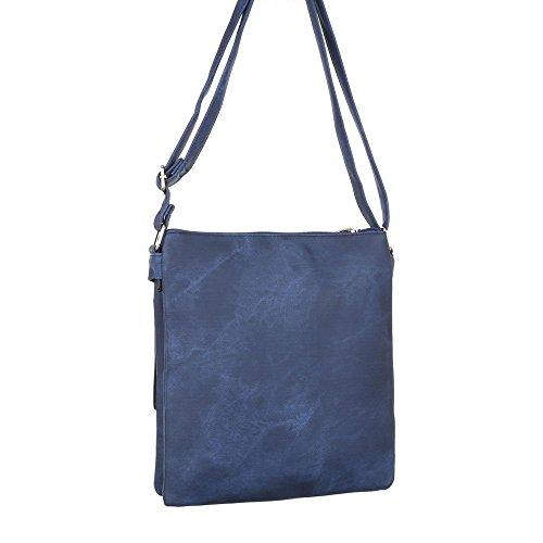 Damen Tasche, Schultertasche, Kleine Handtasche In Used Optik, Kunstleder, TA-B67 Blau