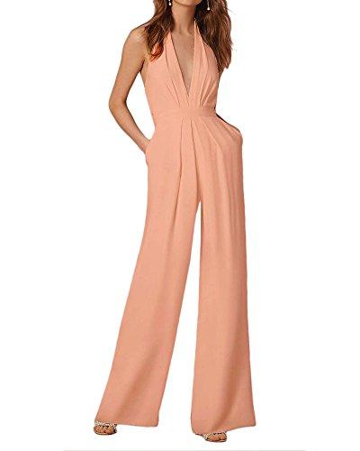 Damen Overalls Jumpsuits Elegant Lang Breites Bein Ärmellos V-Ausschnitt Romper Taille Rückenfrei Slim Normallacks Formal Playsuits...
