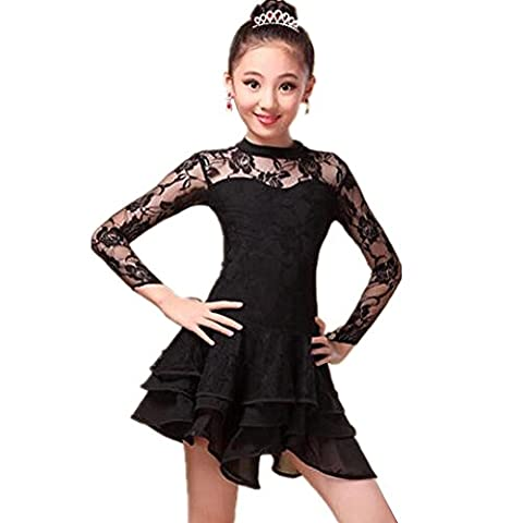 Wgwioo Hohle Kinder Latein Tanzen Kleid . Black . Xl (Schwarz Harem Dancer Kostüm)