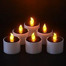 Juego de 6Solar Velas en blanco cálido, realista y Bright Solar con parpadeo sin llama Led vela té luz ideal para la decoración de la Navidad, día San Valentín, fiesta centro de mesa, cumpleaños, bodas, festivales por X 98Cm