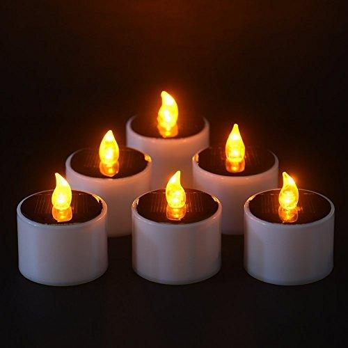 6 X Teelichter LED Solarenergie Flammenlose Kerzen für Weihnachten, Valentinstag Dekoration, Party Herzstück, Geburtstag, Hochzeit, Festivals