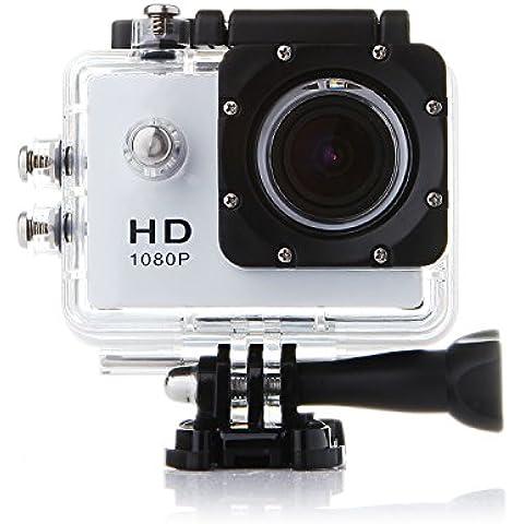 Rubility® Videocámara de Acción SJ4000 - 12MP, HD, 1080P, Gran Angular, Sumergible hasta 30m, Incluye múltiples accesorios Blanco