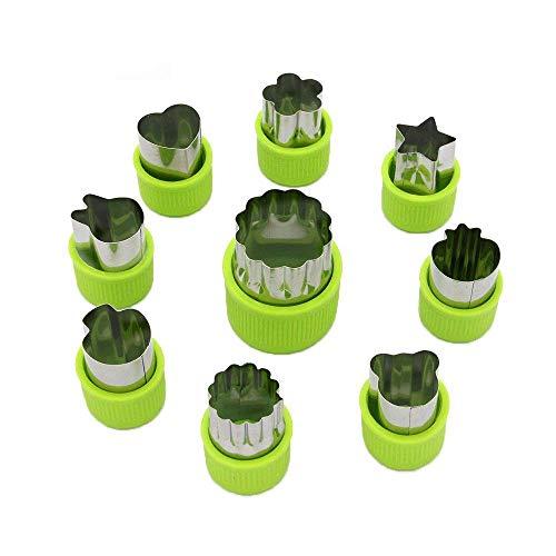 AVANA 9 Stück Edelstahl Ausstechformen Gemüse Obst Ausstecher Tiere Form Gemüseschneider Keks Plätzchen Schneider Cookie Cutter Gemüseausstecher Schutzgriff für Kinder (Grün)