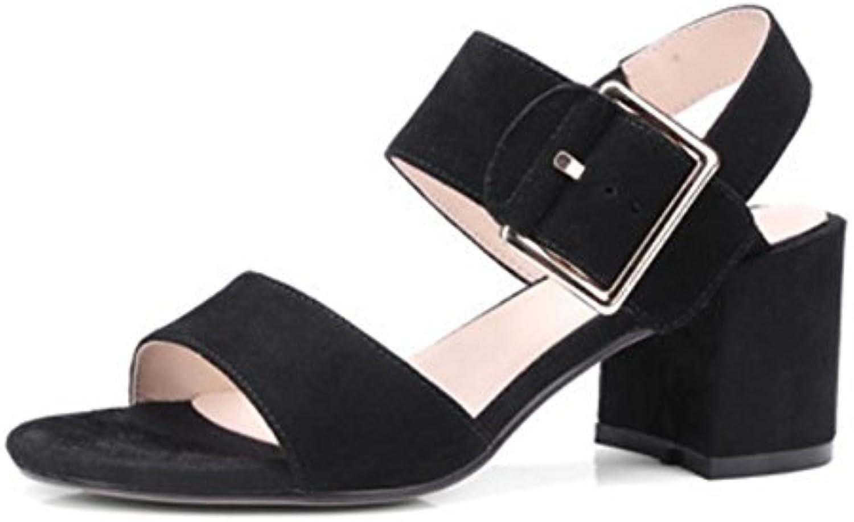 sandalias y zapatillas sandalias de las mujeres de punta abierta fregar sandalias de la hebilla redonda con gruesas...