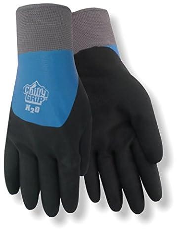 Red Steer Chilly Grip A323 H2O étanche Thermal-lined Full-fingered travail et usage général, gants en caoutchouc nitrile Overdip Revêtement, Bleu/noir [Prix est par paire], noir/bleu