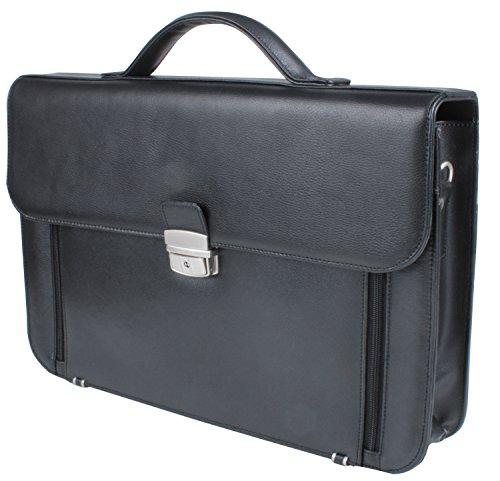 Elegante Aktentasche, abschließbar, Lederoptik, geeignet auch für Laptops, mit Schulterriemen und Griff (Griff Leder Aktentasche)