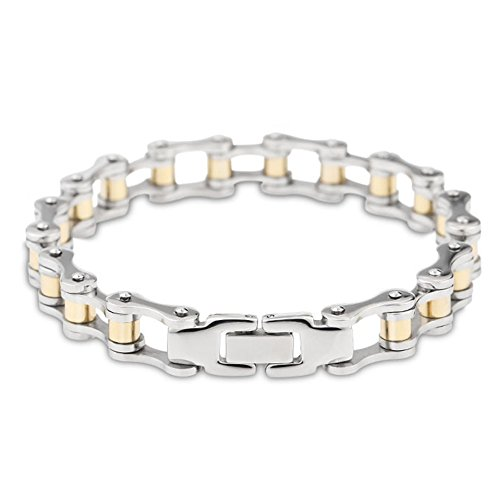 Cool Stainless Steel Motorcycle Biker Chain Bracelet Rock Link Wristband (19CM,Gold)