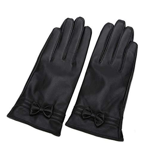 XIAO-AO Herbst und Winter Lederhandschuhe Mode einfach Fahren Lederhandschuhe Dicke warme Touchscreen-Lederhandschuhe -