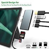Bawanfa Docking Station Hub USB Surface PRO 4/5/6 con 4K HDMI, 3 Porte USB 3.0 ad Alta velocità Trasporto, con Slot per schede SD (HC) e Lettore di schede TF per Microsoft Surface Pro 4/5/6, Aluminium