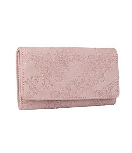 SIX Damen Portemonnaie, längliche Geldbörse in zartem Altrosa mit floralem Muster und Druckverschluss (Piraten Geldbörse Herz)