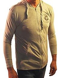 1stAmerican t-Shirt Uomo Manica Lunga Zip Intera con Cappuccio e Tasca Marsupio, 100% Cotone Jersey Fiammato
