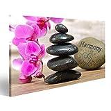 islandburner Bild Bilder auf Leinwand Japan Zen Garten mit gestapelten Steinen und Orchidee Blume Wandbild, Poster, Leinwandbild NMH