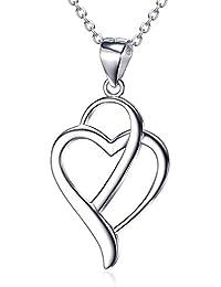b0af9633a688 KnSam Schmuck Herz Halsketten für Frauen 925 Silber Herzkette Damen  Geburtstagsgeschenk…