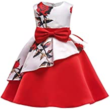 POLP Niña Vestido ◕‿◕ Vestido Mujer Verano Vestido Casual sin Mangas de Impresión Vestido