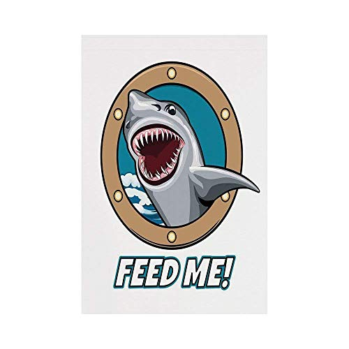VAICR Home Garden Sea Animal Decor Funny Vintage Quote with Hungry Hound Shark Head in Ship Window Humor Print Multior co Deko Süße Garten Flagge