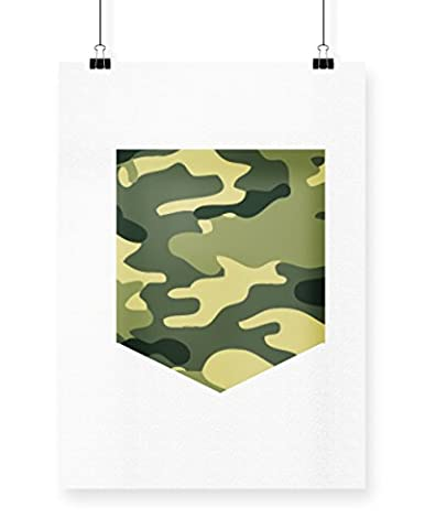 Hippowarehouse Camouflage armée Imprimé Poster Décoration murale Motif mur A4 blanc