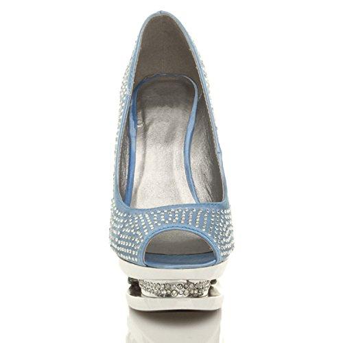 Donna tacco alto diamante nozze sera sandali con zeppa scarpe piattaforma taglia Blu pallido