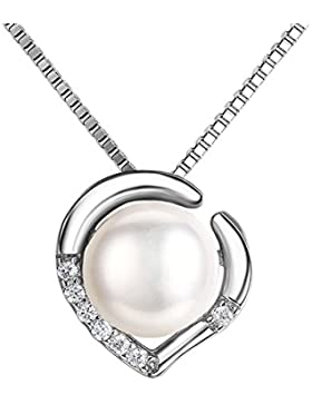 J.SHINE Damen Kette Perlen 925 Sterling Silber Halskette Anhänger Set 3A 6mm Natürliche Süßwasser Perle mit Etui...