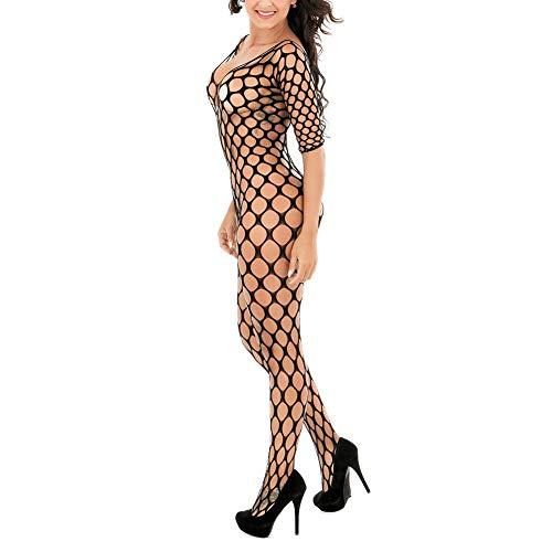 Bodysuit mit Netz Sexy Dessous Frauen Bodysuits Crotchless Bodystocking Plus Size Open Crotch Teddy Unterwäsche Womens Plus-Size Hohlstrumpfhose See-Through Babydoll Tempting Ladies Nightwear