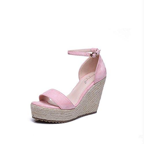 BaiLing Damen Sommer Sandalen / dicke Ferse spitzte Zehe / weiszlig;e rosa / kleine Code weibliche Schuhe  Pink