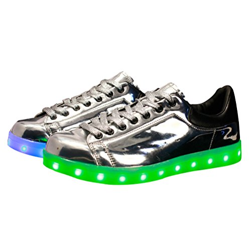 MatchLife Unisex USB Rechargeable LED Chaussure Lumineuse Clignotant Sport Basket Montante Et Basse Sneaker Style3-Argent