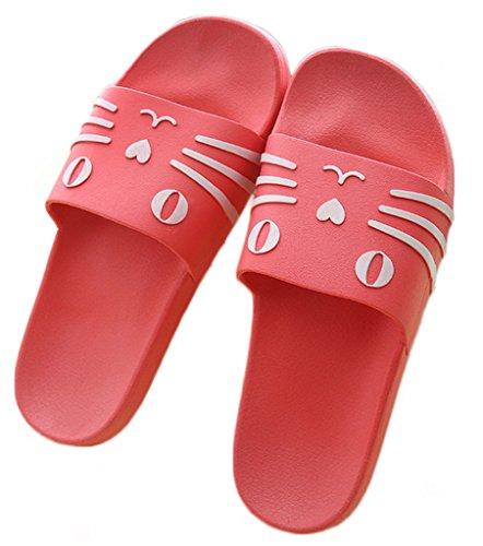 Newzcers Moda Primavera Desenhos Animados Plana Sapatos Par De Chinelos De Praia Vermelha