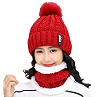 AlexVyan Imported Premium Quality Winter Soft Warm 1 Set Snow Proof Ball Cap (Inside Fur) Woolen Beanie Cap With Scarf for Women Girl Ladies