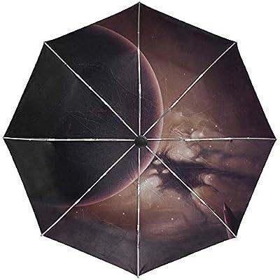 Paraguas automático Space Planet Dark Travel Conveniente A Prueba de Viento Impermeable Secado rápido Plegado Automático Abrir Cerrar