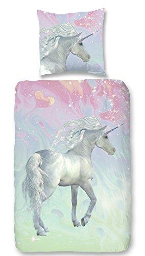 Aminata Kids – Bettwäsche á 135x200 cm Kinder Mädchen Einhorn Unicorn Baumwolle + Reißverschluss |inkl Gratis E-Book| Rosa Pink...