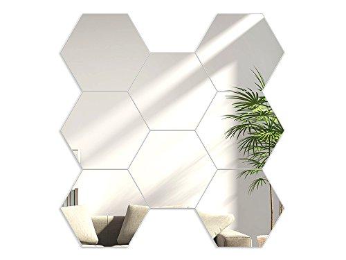 Modern Clock Hexagons Silver Mirror Hexagonal Spiegel, Acryl, Silber, 16 x 18 cm