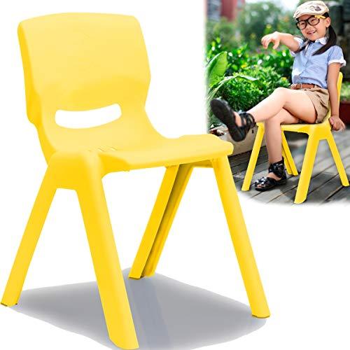 Kinderstuhl mit Rückenlehne bis 100kg belastbar stapelbar und kippsicher Indoor und Outdoor geeignet (aus Kunststoff) (Gelb)