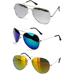 Sheomy Stylish sunglasses 3 Combo Set of 3 UV Protect Aviators Unisex sunglasses & goggles for Men/Women with three Boxes (Silver Frame Silver Mirrored Glass | Silver Frame Blue Mirrored Glass | Golden Frame Yellow Red Mirrored Glass)