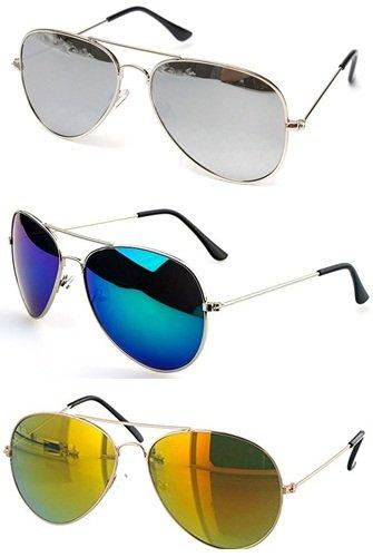 Combo Set of 3 UV Protect Aviators Sunglasses for Men/Women (Silver Mercury - Blue Mercury - Green Mercury)