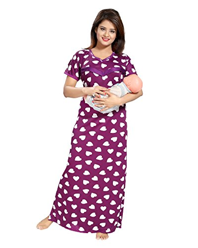 83e292ff23 Tucute Women  s Beautiful Heart Print Feeding   Maternity   Nursing Nighty   Nightwear. (Winish Blue) 1522
