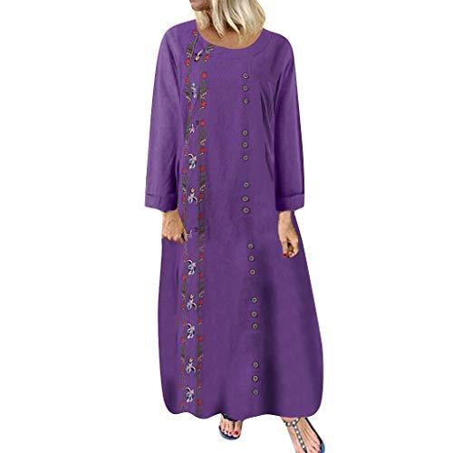 Floweword Damen Lose Maxi Kleider Plus Size Colorblock Patchwork Casual Kleider Langarm Solide Splice Leinen Lange Kleider -