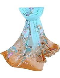39cba159f12 BaZhaHei Foulard Mode Femme Fleur Imprimé Châle Doux en Mousseline de Soie  Emballage Echarpe Foulards Longue