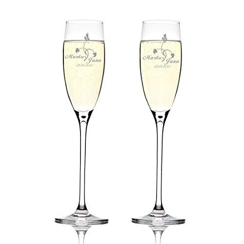 Deux flûtes LEONARDO Cheers Gravure motif fleur : Avec Cœur feuilles