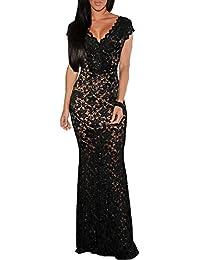 mywy - abito lungo pizzo nero vestito donna elegante sera abito pizzo rosso  cerimonia 1306ba8c266