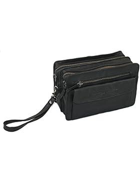 The British Brand Herrentasche Leder Handgelenktasche, schwarz