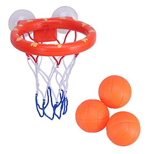 STOBOK Baby Bad Spielzeug Basketballkorb und 3 Bälle Spielset mit Saugnapf Badewanne Schießen Spiel für Kinder Kleinkinder (Badewanne Spielzeug Ball)