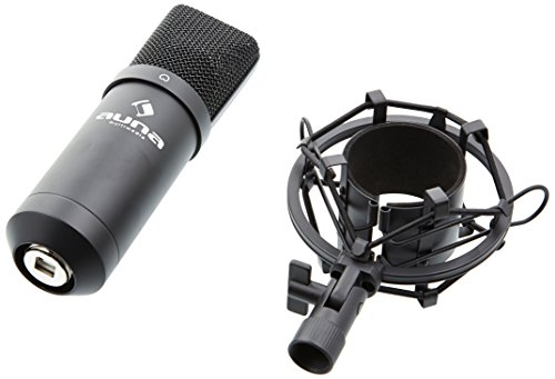 Auna MIC-900B USB Kondensator Mikrofon für Studio-Aufnahmen inkl. Spinne (16mm Kapsel, Nierencharakteristik, 320Hz - 18KHz) schwarz